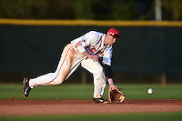 Ball State Cardinals shortstop Alex Maloney (6) during a game against the Maine Black Bears on March 3, 2015 at North Charlotte Regional Park in Port Charlotte, Florida.  Ball State defeated Maine 8-7.  (Mike Janes/Four Seam Images)