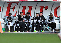 Pictured: Disappointment on the Swansea bench. Sunday 27 November 2011<br /> Re: Premier League football Swansea City FC v Aston Villa at the Liberty Stadium, south Wales.