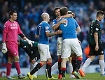 Richard Foster congratulates goalscorer Jon Daly