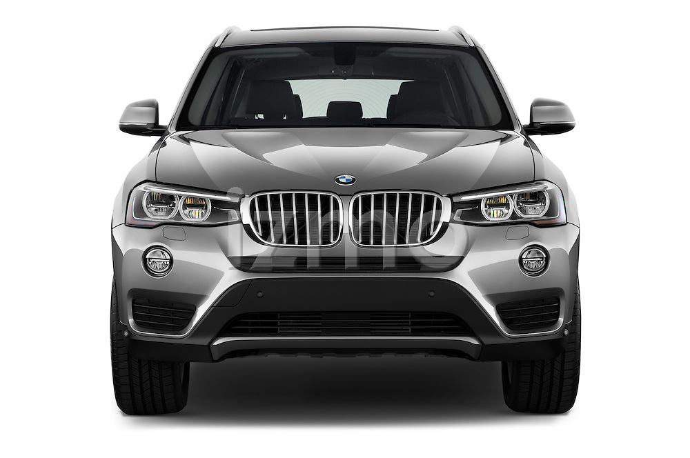 Car photography straight front view of a 2017 BMW X3 sDrive28i 5 Door SUV Front View