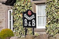 Farmhouse bed and breakfast sign, Dunsop Bridge, Wood End Farm.