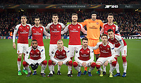 Arsenal pre match team photo (back row l-r) Hector Bellerin, Henrikh Mkhitaryan, Granit Xhaka, Shkodran Mustafi, Goalkeeper Petr Cech & Laurent Koscielny (front row l-r) Alexandre Lacazette, Jack Wilshere, Aaron Ramsey, Nacho Monreal and Mesut Ozil of Arsenal before the UEFA Europa League QF 1st leg match between Arsenal and CSKA Moscow  at the Emirates Stadium, London, England on 5 April 2018. Photo by Andrew Aleksiejczuk / PRiME Media Images.