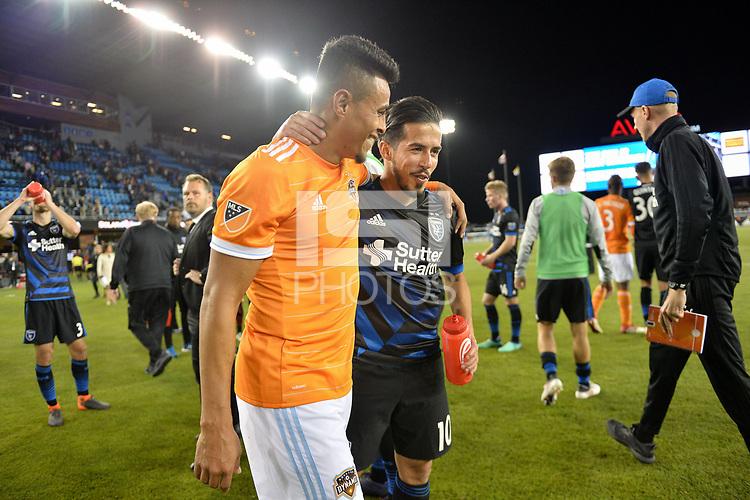 San Jose, CA - Saturday April 14, 2018: Darwin Cerén, Jahmir Hyka during a Major League Soccer (MLS) match between the San Jose Earthquakes and the Houston Dynamo at Avaya Stadium.