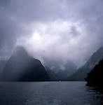 Grey rain clouds over Milford Sound, New Zealand