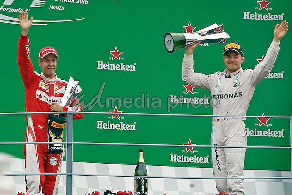 03 September 2016 - Monza - Nico Rosberg, Sebastian Vettel, Formula 1 GP. Photo Credit: Melzer/face to face/AdMedia
