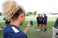 Cary, North Carolina  - Saturday June 17, 2017: Claire Wagner, Jaycie Johnson, and Ashley Hatch have a photo taken by Jaelene Hinkle prior to a regular season National Women's Soccer League (NWSL) match between the North Carolina Courage and the Boston Breakers at Sahlen's Stadium at WakeMed Soccer Park. The Courage won the game 3-1.