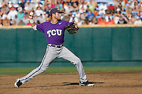 TCU's Featherston, Taylor 6998.jpg against Florida State at the College World Series on June 23rd, 2010 at Rosenblatt Stadium in Omaha, Nebraska.  (Photo by Andrew Woolley / Four Seam Images)