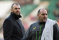 Twickenham, United Kingdom. {L}. Michael CHEIKA Head Coach, and  Australia' Forward coach, Agentine, Mario LEDESMA, during  the pre game session of the  Old Mutual Wealth Series Match: England vs Australia, at the RFU Stadium, Twickenham, England, <br /> <br /> Saturday  03/12/2016<br /> <br /> [Mandatory Credit; Peter Spurrier/Intersport-images]