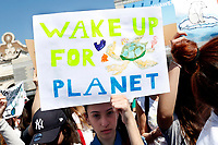 Banners wake up for planet<br /> Rome April 19th 2019. Fridays for Future Climate Strike in Rome, Piazza del Popolo.<br /> photo di Samantha Zucchi/Insidefoto