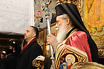Greek Orthodox Patriarch of Jerusalem Theophilos III, attends the Christmas mass celebrations at the Church of the Nativity, in the West Bank town of Bethlehem, 06 January 2020. The Church of the Nativity, built on the site where Jesus Christ is believed to have been born in the West Bank city of Bethlehem, is administered jointly by Greek Orthodox, Roman Catholic, Armenian Apostolic, and Syriac Orthodox church. Orthodox believers celebrate Christmas Day on 07 January, according to the Julian calendar. Photo by Abedalrahman Hassan