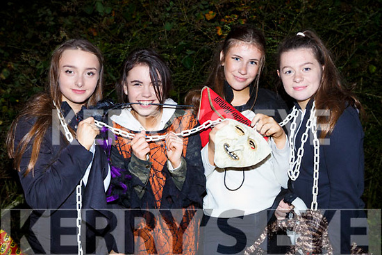 Mebh Ní Mhaoldomhnaigh, Leah Costello, Ellen de Bhailis and Caragh Ní Neill Tralee at the Knocknagoshel Halloween Festival on Sunday night