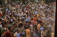 Water Fight at China Folk Culture Villages.  This is mimicking a once a year ceremony from the minority group Dai Zuo.