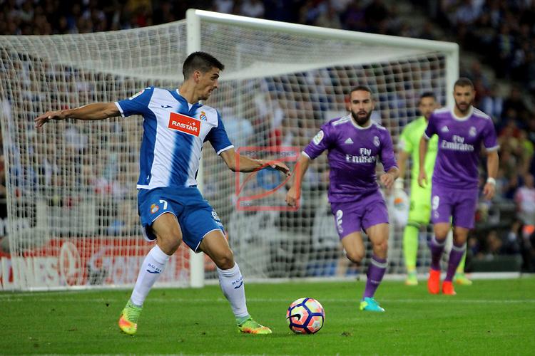 League Santander 2016/2017. Game: 4.<br /> RCD Espanyol vs R. Madrid: 0-2.<br /> Gerard Moreno vs Daniel Carvajal.
