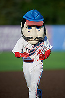 Auburn Doubledays mascot Abner on field promotion, the base race, during a NY-Penn League game against the West Virginia Black Bears on August 23, 2019 at Falcon Park in Auburn, New York.  West Virginia defeated Auburn 8-1, the first game of a doubleheader.  (Mike Janes/Four Seam Images)