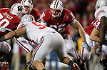 Wisconsin Badgers offensive lineman Peter Konz (66) prepares to block during an NCAA college football game against the Ohio State Buckeyes on October 16, 2010 at Camp Randall Stadium in Madison, Wisconsin. The Badgers beat the Buckeyes 31-18. (Photo by David Stluka)