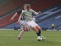 Stuart Findlay shields the ball from Allan Smith in the Dunfermline Athletic v Celtic Scottish Football Association Youth Cup Final match played at Hampden Park, Glasgow on 1.5.13. ..