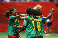 June 12, 2015: Ajara NCHOUT of Cameroon celebrates her goal during a Group C match at the FIFA Women's World Cup Canada 2015 between Cameroon and Japan at BC Place Stadium on 12 June 2015 in Vancouver, Canada. Japan won 2-1. Sydney Low/AsteriskImages