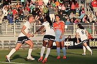 Boyds, MD - Saturday May 14, 2016: Washington Spirit midfielder Joanna Lohman (15) and forward Crystal Dunn (19) after Joanna Lohman (15) had scored during a regular season National Women's Soccer League (NWSL) match at Maureen Hendricks Field, Maryland SoccerPlex. The Washington Spirit defeated the Houston Dash 1-0.