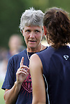 22 July 2009: United States head coach Pia Sundhage (SWE) talks to Lauren Cheney (USA) (foreground). The United States Women's National Team defeated the Canada Women's National Team 1-0 at Blackbaud Stadium in Charleston, South Carolina in an international friendly soccer match.