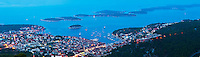 Panoramic photo of Hvar Town and the Pakleni Islands at night, Dalmacia (Dalmacija), Croatia. This is a panoramic photo of Hvar Town and the Pakleni Islands at night, Dalmatia (Dalmacija), Croatia. This panoramic photo was taken from Hvar observatory, a 1 hour up hill walk from Hvar Town centre. It provides impressive panoramic views over the whole of Hvar Town, the Pakleni Islands (Otoci Pakleni) and Dalmacia (Dalmacija), Croatia, even at night.