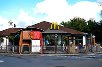 Pictured: McDonalds restaurant where Corey Sharpling was working in Carmarthen, Wales, UK.<br /> Re: A landslide caused by Storm Callum has caused the death of 21 year old Corey Sharpling in Cwmduad, near Carmarthen, in west Wales, UK.