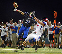 Central Bucks South's Josh Horvath (18) breaks up a pass intended for Neshaminy's Oleh Manzyk (5) in the second quarter Friday, October 06, 2017 at Central Bucks South in Warrington, Pennsylvania. (WILLIAM THOMAS CAIN / For The Philadelphia Inquirer)