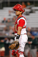 Auburn Doubledays catcher Wilfri Pena #16 during game two of the semi-final round of the NY-Penn League Playoff series against the Vermont Lake Monstes at Falcon Park on September 8, 2011 in Auburn, New York.  Auburn defeated Vermont 3-2.  (Mike Janes/Four Seam Images)