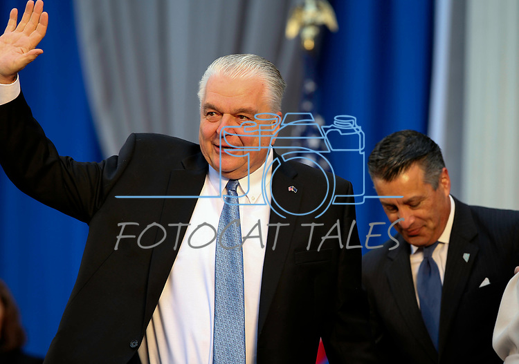 Nevada Gov. Steve Sisolak waves to the crowd as during his inauguration at the Capitol, in Carson City, Nev., on Monday, Jan. 7, 2019. (Cathleen Allison/Las Vegas Review-Journal)