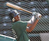 June 5, 2008: Outfielder James Simmons (22) of the Augusta GreenJackets, Class A affiliate of the San Francisco Giants, prior to a game against the Greenville Drive at Fluor Field at the West End in Greenville, S.C. Photo by:  Tom Priddy/Four Seam Images