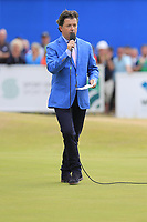 Shane O'Donoghue hosts the trophy presentation at the end of Sunday's Final Round of the 2018 Dubai Duty Free Irish Open, held at Ballyliffin Golf Club, Ireland. 8th July 2018.<br /> Picture: Eoin Clarke   Golffile<br /> <br /> <br /> All photos usage must carry mandatory copyright credit (&copy; Golffile   Eoin Clarke)