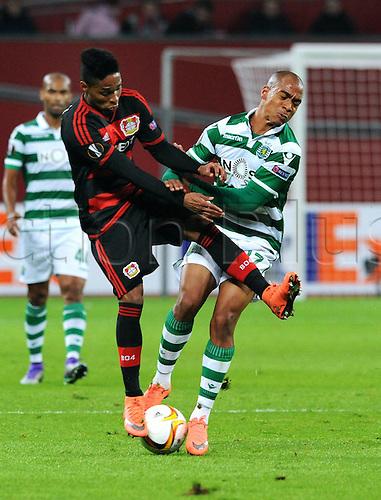 25.02.2016. Leverkusen, Germany. UEFA Europa League football. Bayer Leverkusen versus Sporting Lisbon. Wendell (Leverkusen), Joao Mario (Sporting)
