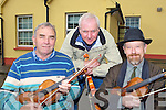 Connie O'Connell, John Daly and Gerry Harrington playing some tunes at the fiddle workshop as part of Padraig O'Keeffe Festival in St Patrick's college Castleisland on Saturday.