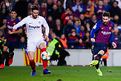 30th January 2019, Camp Nou, Barcelona, Spain; Copa del Rey football, quarter final, second leg, Barcelona versus Sevilla; Lionel Messi of FC Barcelona shoots past Gomez of Sevilla CF