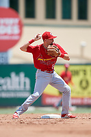 Palm Beach Cardinals second baseman Stefan Trosclair (22) turns a double play during a game against the Jupiter Hammerheads on August 5, 2018 at Roger Dean Chevrolet Stadium in Jupiter, Florida.  Jupiter defeated Palm Beach 3-0.  (Mike Janes/Four Seam Images)