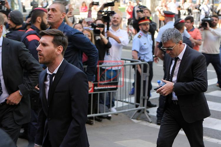 Barcelona's Leo Messi testifies in fraud case.<br /> Lionel Messi &amp; Jorge Messi.