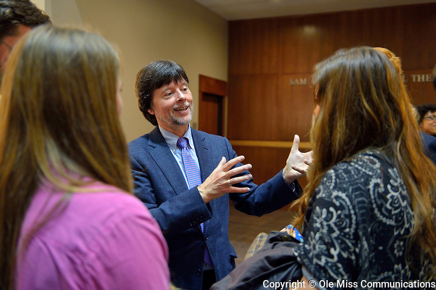 Ken Burns talks with students after the Sally McDonnell Barksdale Honors College Fall Convocation. Photo by Thomas Graning/Ole Miss Communications