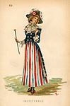 A fancy dress costume from 1884, suggesting an Incroyable from 1798.  She wears a short red, white and blue skirt, blue satin coat with tails and revers at throat; the lappet and waistcoat of old brocade, red, blue and black bow with long ends on one shoulder; gold buttons; cravat of old lace; gendarme hat, with tricolour rosette; black shoes and buckles, blue stockings.  She carries an old-fashioned gold-headed cane and an eyeglass or lorgnette.  Simple really.     Date: 1884