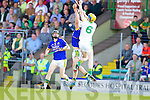 Ricky Heffernan Lixnaw in action against Dougie Fitzell Kilmoyley in the County Senior Hurling Final at Austin Stack Park Tralee on Sunday.