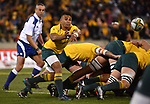 Wallabies player Will Genia gets the ball away during the Rugby Championship match between Australia and Argentina in Canberra on September 16, 2017. AFP PHOTO / MARK GRAHAM --- IMAGE RESTRICTED TO EDITORIAL USE - STRICTLY NO COMMERCIAL USE --