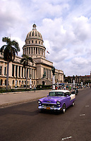 Classic American 50s car in front of the Capitol in Havana Cuba Habana