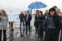 ANNE HIDALGO (MAIRE DE PARIS) - INAUGURATION DE LA CENTRALE PHOTOVOLTAIQUE SUR TOITURE DU RESERVOIR DE L'HAY-LES-ROSES, FRANCE, LE 14/12/2017.