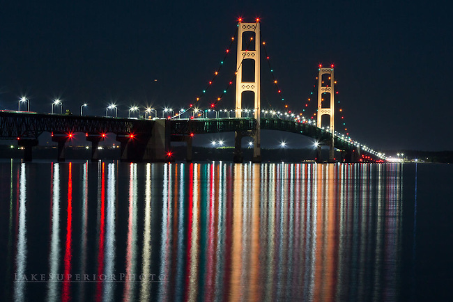 Mackinac Bridge, Reflections, night