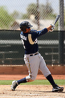 Mike Rivera of the Milwaukee Brewers plays in a spring training game against the Los Angeles Dodgers at the Brewers complex on April 2, 2011 in Phoenix, Arizona. .Photo by:  Bill Mitchell/Four Seam Images.