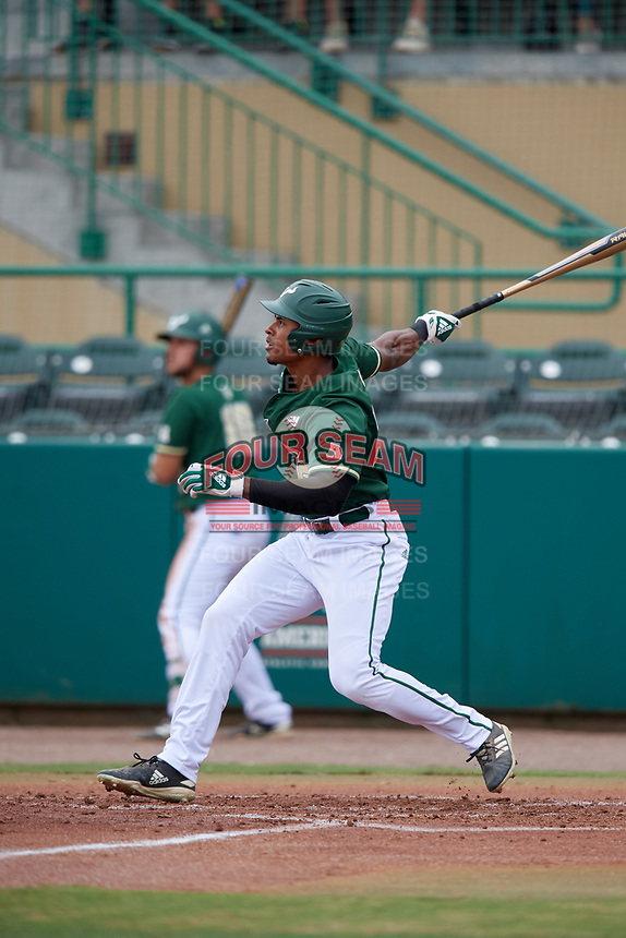USF Bulls designated hitter Chris Chatfield (24) follows through on a swing during a game against the Dartmouth Big Green on March 17, 2019 at USF Baseball Stadium in Tampa, Florida.  USF defeated Dartmouth 4-1.  (Mike Janes/Four Seam Images)