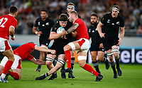 Scott Barrett of New Zealand (All Blacks) tackled by Ross Moriarty of Wales during the 2019 Rugby World Cup bronze final match between New Zealand All Blacks and Wales at the Tokyo Stadium at the Tokyo Stadium in Tokyo, Japan on Friday, 1 November 2019. Photo: Steve Haag / stevehaagsports.com