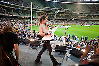 "Airbourne performing at The Melbourne Cricket Ground before the Richmond vs Collingwood match as part of the ""Live at The G"" concerts before AFL matches, 15 April 2011"