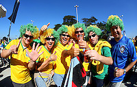 Brazil fans soak up the atmosphere outside the Itaquerao stadium ahead of kick off in the opening match of the 2014 World Cup vs Croatia