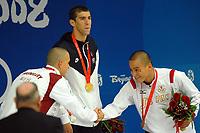 Michael Phelps USA, Men's 200m Butterfly, Gold Medal and World record (C), Laszlo Cseh Silver Hungary Medal (L), Takeshi Matsuda Japan (R) Bronze<br /> National Aquatics Centre Nuoto<br /> Pechino - Beijing 13/8/2008 Olimpiadi 2008 Olympic Games<br /> Foto Andrea Staccioli Insidefoto