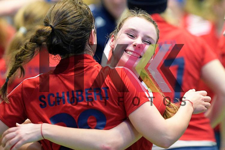 GER - Luebeck, Germany, February 06: After the 1. Bundesliga Damen indoor hockey semi final match at the Final 4 between Berliner HC (blue) and Duesseldorfer HC (red) on February 6, 2016 at Hansehalle Luebeck in Luebeck, Germany. Final score 1-3 (HT 0-1).  Elisa Graeve #26 of Duesseldorfer HC<br /> <br /> Foto &copy; PIX-Sportfotos *** Foto ist honorarpflichtig! *** Auf Anfrage in hoeherer Qualitaet/Aufloesung. Belegexemplar erbeten. Veroeffentlichung ausschliesslich fuer journalistisch-publizistische Zwecke. For editorial use only.