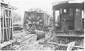 Head-on view of RGS rotary in yards.<br /> RGS  Ridgway, CO  before 1949